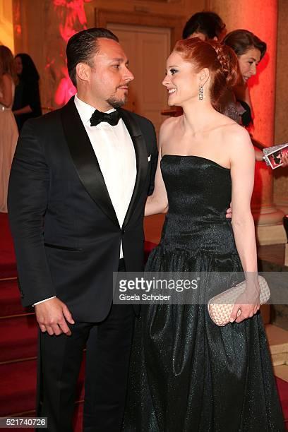 Barbara Meier and her boyfriend Klemens Hallmann during the 27th ROMY Award 2015 at Hofburg Vienna on April 16, 2016 in Vienna, Austria.