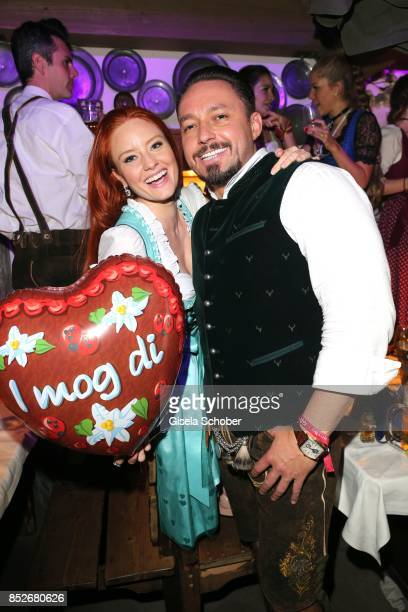 Barbara Meier and her boyfriend Klemens Hallmann during the Oktoberfest at Theresienwiese on September 23 2017 in Munich Germany