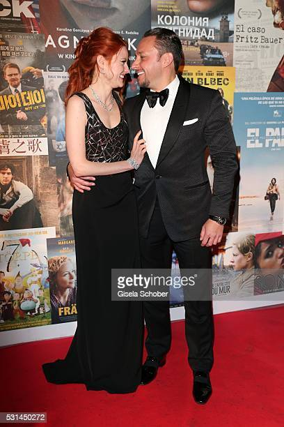 Barbara Meier and her boyfriend Klemens Hallmann during the German Films Reception at the annual 69th Cannes Film Festival at Villa Rothschild on May...