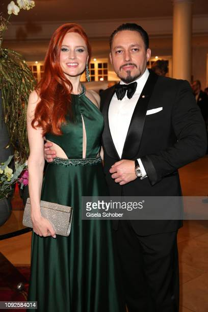 Barbara Meier and her fiance Klemens Hallmann during the Semper Opera Ball 2019 reception at the Taschenbergpalais near Semperoper on February 1 2019...