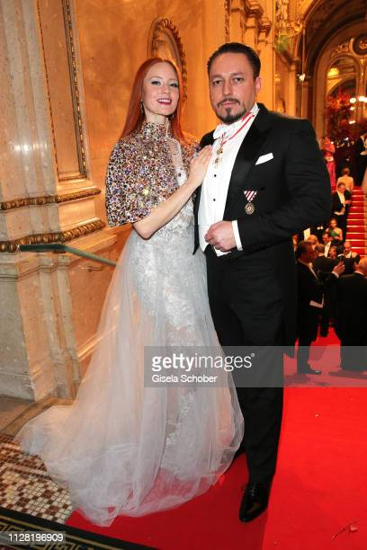 Barbara Meier and her fiance Klemens Hallmannduring the Opera Ball Vienna at Vienna State Opera on February 28, 2019 in Vienna, Austria.