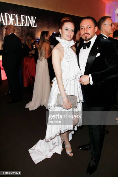 Barbara Meier and husband Klemens Hallmann pose at the 71st Bambi Awards party on November 21, 2019 in Baden-Baden, Germany.
