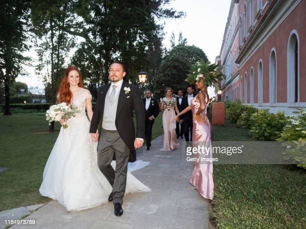 Barbara Meier and Klemens Hallmann are seen during their wedding celebration on June 01 2019 in Venice Italy
