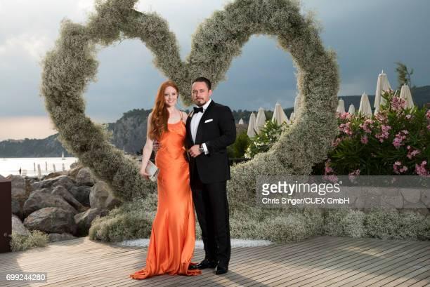 Barbara Meier and Klemens Hallmann attend the wedding of Victoria Swarovski and Werner Muerz on June 16, 2017 in Trieste, Italy.