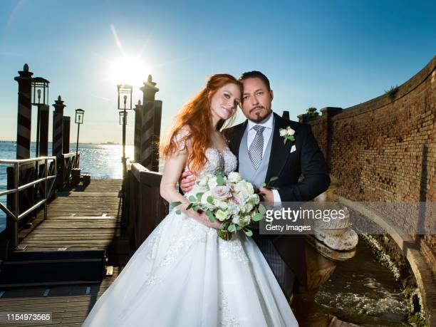 Barbara Meier and Klemens Hallmann pose for a picture during their wedding celebration of Barbara Meier and Klemens Hallmann on June 01 2019 in...