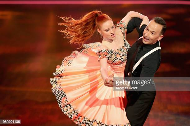 Barbara Meier and Sergiu Luca perform on stage during the 1st show of the 11th season of the television competition 'Let's Dance' on March 16 2018 in...