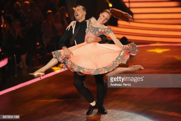 Barbara Meier and Sergiu Luca perform on stage during the 1st show of the 11th season of the television competition 'Let's Dance' on March 16, 2018...