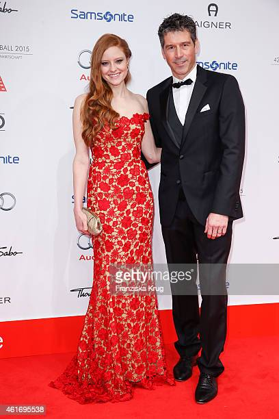 Barbara Meier and Wolfgang Groos attend the German Film Ball 2015 on January 17 2015 in Munich Germany
