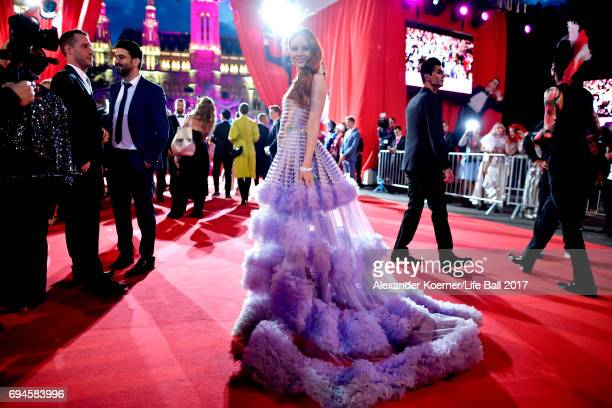 Barbara Meier arrives for the Life Ball 2017 at City Hall on June 10 2017 in Vienna Austria