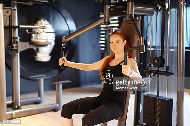 Barbara Meier completes a workout at John Reed Fitness on July 14 2016 in Bonn Germany John Reed Fitness launches today their first studio in Germany