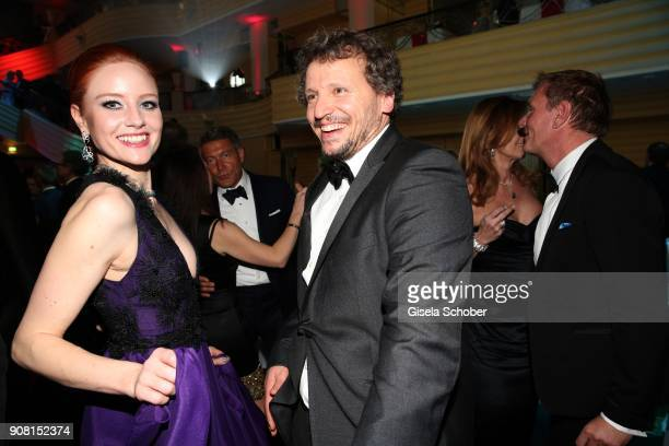 Barbara Meier Marcus H Rosenmueller during the German Film Ball 2018 party at Hotel Bayerischer Hof on January 20 2018 in Munich Germany