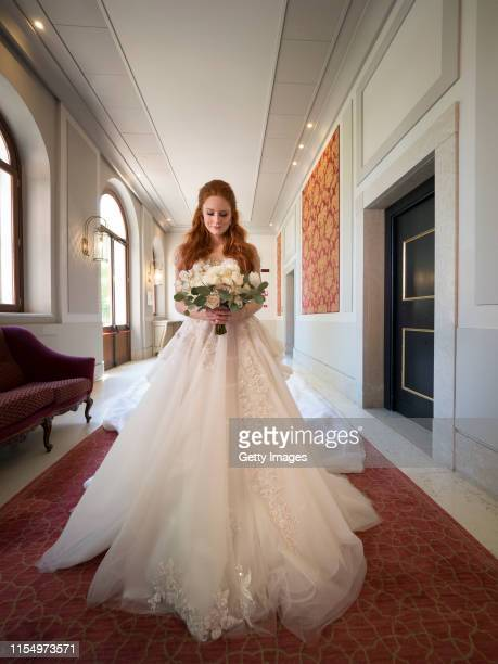Barbara Meier pose for a picture during the wedding celebration of Barbara Meier and Klemens Hallmann on June 01 2019 in Venice Italy