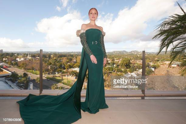 Barbara Meier poses on the balcony of her hotel suite ahead of the 76th annual Golden Globe Awards at Waldorf Astoria Beverly Hills on January 6 2019...