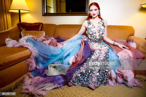 Barbara Meier prepares for the 75th annual Golden Globe Awards at Montage Hotel on January 7, 2018 in Beverly Hills, California. The German model and...