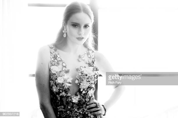 Barbara Meier prepares for the 75th annual Golden Globe Awards at Montage Hotel on January 7 2018 in Beverly Hills California The German model and...