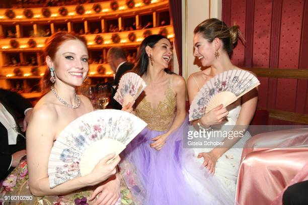 Barbara Meier Viktoria Lauterbach and Lili James during the Opera Ball Vienna at Vienna State Opera on February 8 2018 in Vienna Austria