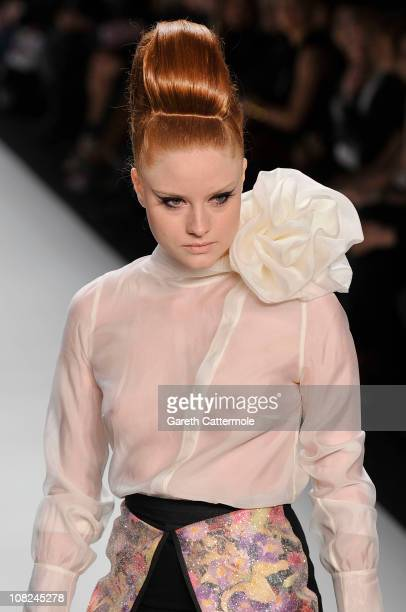 Barbara Meier walks the runway at the Stephan Pelger Show during the Mercedes Benz Fashion Week Autumn/Winter 2011 at Bebelplatz on January 22 2011...