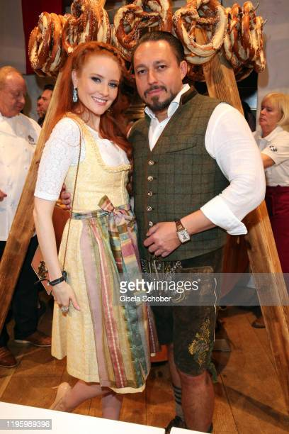 Barbara Meier wearing jewelry bei Thomas Jirgens Juwelenschmiede and Klemens Hallmann during the 29th Weisswurstparty at Hotel Stanglwirt on January...