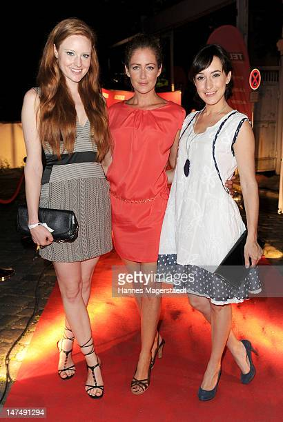 Barbara Meier Yvonne Burbach and Maike von Bremen attends the 'Tele 5 Director's Cut' during the Munich Film Festival at the Praterinsel on June 30...