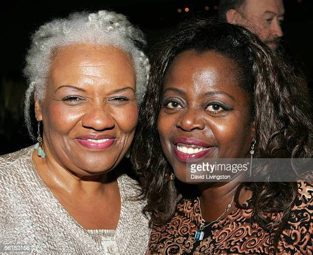 Barbara Morrison and Lillias White pose at the party following the Actor's Fund STAGE Too Tribute Hooray For Love celebrating the music of Harold...