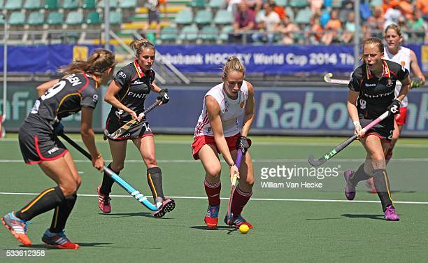 Barbara Nelen Emilie Sinia and Jill Boon of Belgium against Susannah Townsend of England pictured during the women game Belgium vs England at the...