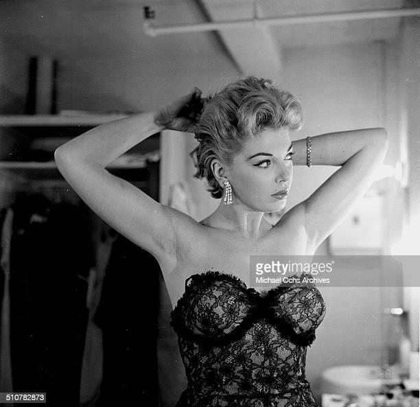 Barbara Nichols poses backstage in Los AngelesCA