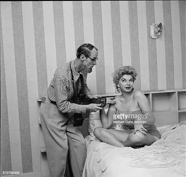 Barbara Nichols poses for photographer Earl Leaf at home in Los AngelesCA