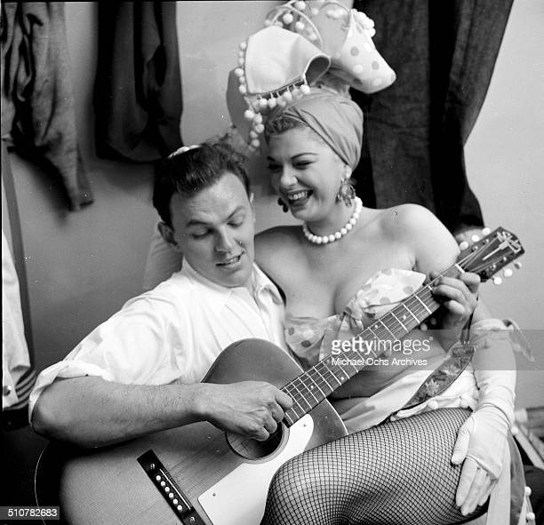 Barbara Nichols poses with Conrad Jarvis backstage in Los AngelesCA