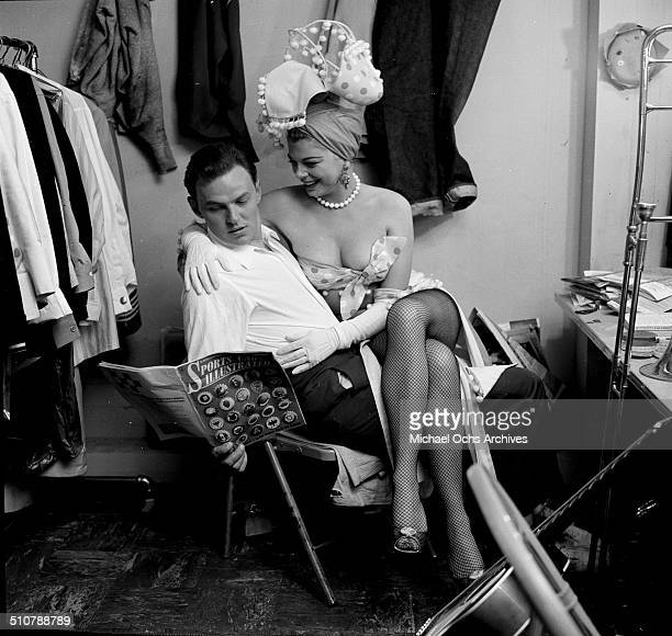Barbara Nichols poses with Conrad Jarvis backstage in Los AngelesCA
