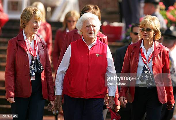 Barbara Nicklaus former first lady Barbara Bush and Linda Sluman walk to the stage with the USA team wives during the Opening Ceremonies of the 2005...