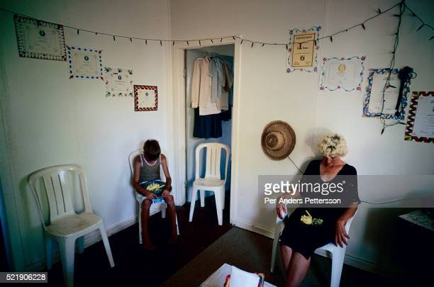 Barbara Noortman age 53 prays before eating with her son in their living room in Orania an all white community in South Africa The village was...