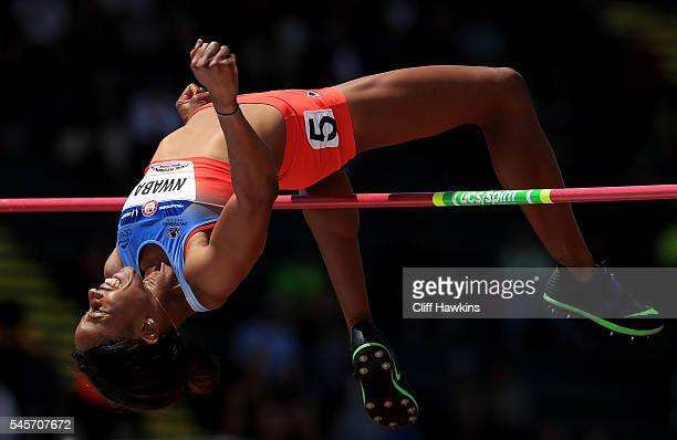 Barbara Nwaba competes in the Women's Heptathlon Hign Jump during the 2016 US Olympic Track Field Team Trials at Hayward Field on July 9 2016 in...