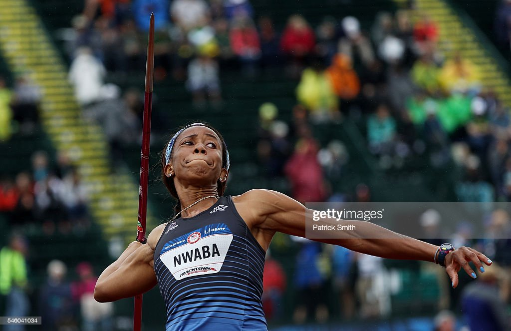 Barbara Nwaba competes in the Women's Heptathlon Javelin Throw during the 2016 U.S. Olympic Track & Field Team Trials at Hayward Field on July 10, 2016 in Eugene, Oregon.