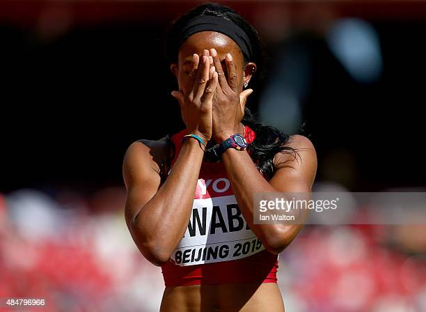 Barbara Nwaba of the United States shows her dejection after falling in the Women's Heptathlon 100 metres hurldles during day one of the 15th IAAF...
