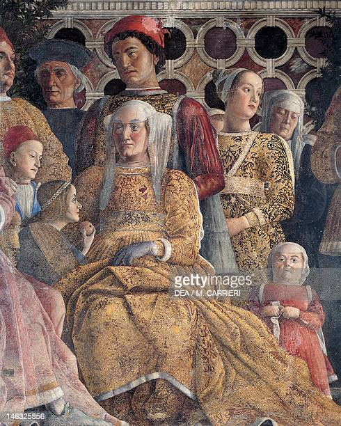 Barbara of Brandenburg with her daughter Paula and Rodolfo Gonzaga detail from the Court Wall 14651474 by Andrea Mantegna fresco San Giorgio Castle...