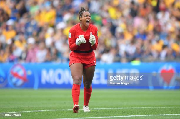 Barbara of Brazil celebrates after teammate Cristiane scores their team's second goal during the 2019 FIFA Women's World Cup France group C match...