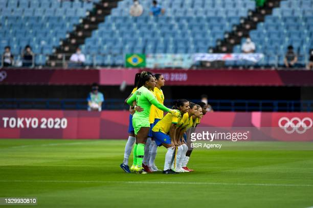 Barbara of Brazil, Erika of Brazil, Rafaelle of Brazil, Tamires of Brazil, Bruna Benites of Brazil, Duda of Brazil, Formiga of Brazil, Andressinha of...
