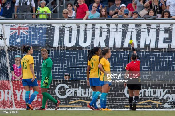 Barbara of Brazil gets a yellow card during the Tournament of Nations soccer match between USA and Brazil on July 30 2017 at Qualcomm Stadium in San...