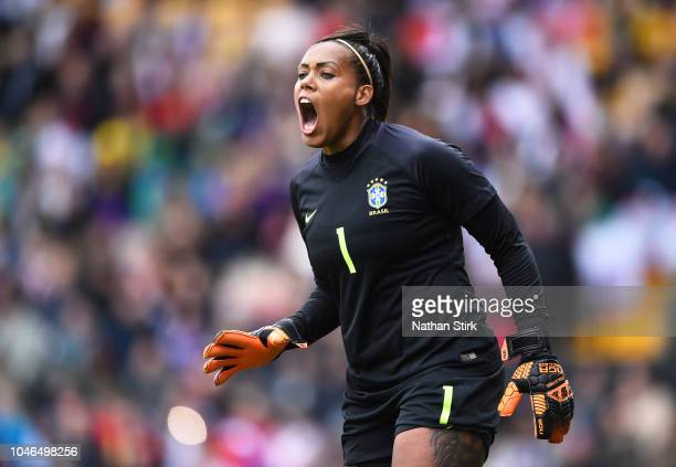 Barbara of Brazil gives her team mates instructions during the International Friendly match between England Women and Brazil Women at Meadow Lane on...