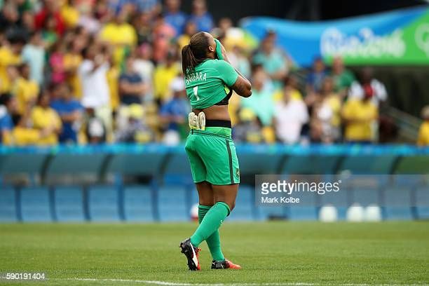 Barbara of Brazil looks dejected following the Women's Football Semi Final between Brazil and Sweden on Day 11 of the Rio 2016 Olympic Games at...