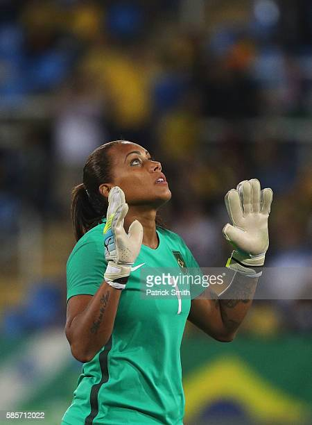 Barbara of Brazil reacts after winning the Women's Group E first round match between Brazil and China PR during the Rio 2016 Olympic Games at the...