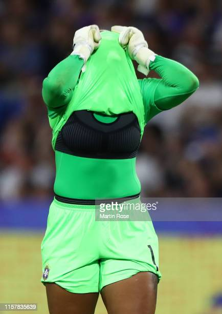 Barbara of Brazil reacts during the 2019 FIFA Women's World Cup France Round Of 16 match between France and Brazil at Stade Oceane on June 23 2019 in...