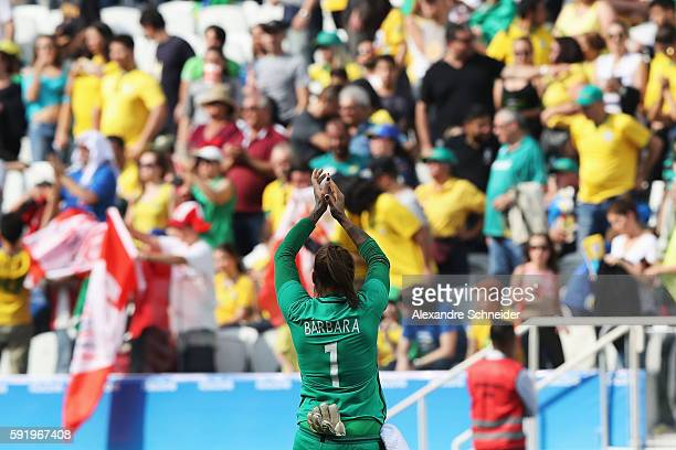 Barbara of Brazil reacts following defeat in the Women's Olympic Football Bronze Medal match between Brazil and Canada at Arena Corinthians on August...
