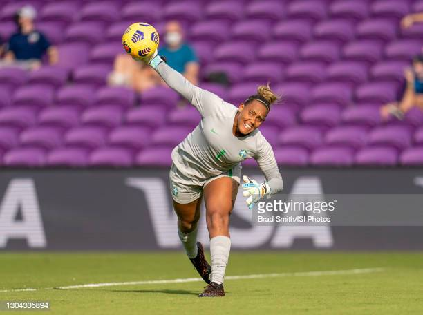 Barbara of Brazil throws the ball during a game between Brazil and Canada at Exploria Stadium on February 24, 2021 in Orlando, Florida.