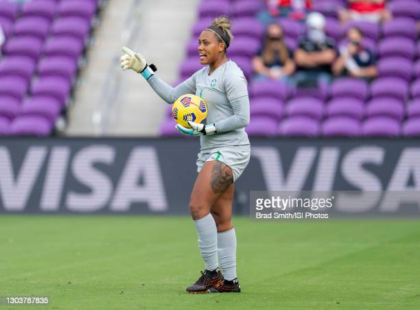 Barbara of Brazil yells to her teammates during a game between Brazil and USWNT at Exploria Stadium on February 21, 2021 in Orlando, Florida.