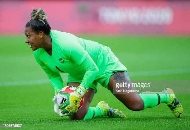 Barbara of Team Brazil makes a save during the Women's First Round Group F match between China and Brazil during the Tokyo 2020 Olympic Games at...
