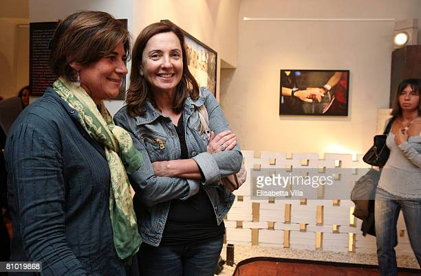 Barbara Palombelli and guest attend the Casualties of the Nameless Opening Exhibition by Italian photographer Marco Di Lauro held at MOCA Studio on...