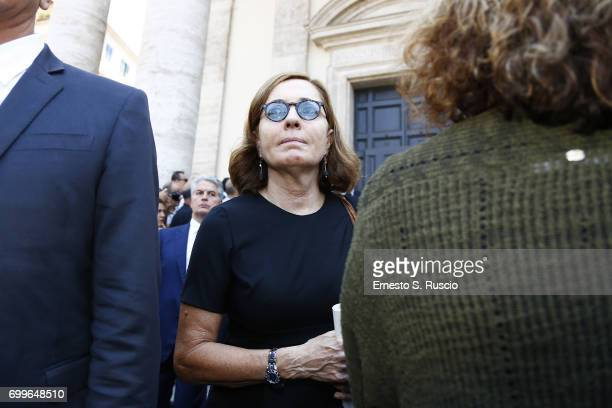Barbara Palombelli attends during the Carla Fendi Funeral at Chiesa degli Artisti on June 22 2017 in Rome Italy