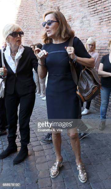 Barbara Palombelli attends the Laura Biagiotti funeral service in Basilica Santa Maria degli Angeli on May 27 2017 in Rome Italy