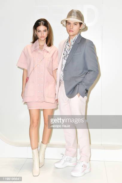 Barbara Palvin and Dylan Sprouse are seen at the Fendi fashion show on January 13 2020 in Milan Italy
